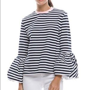 English Factory striped bell sleeves top